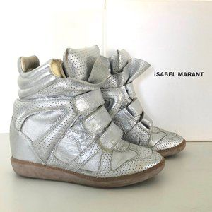 ISABEL MARANT Wedge SILVER Sneakers Shoes 36